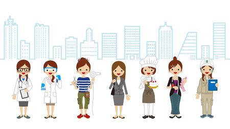 various: Various Women occupation-Cityscape Background Illustration