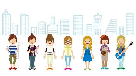 simbolo de la mujer: Estudiante Mujer y Formación Profesional Ocupación-paisaje urbano