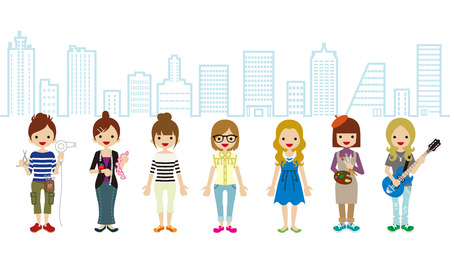 only women: Female Student and Professional Occupation-Cityscape Background