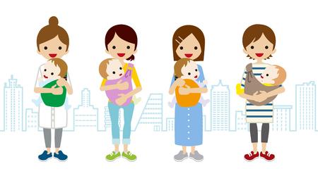 Diverse moeder en baby-Stadsgezicht Achtergrond
