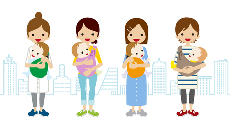 single mother: Various Mom and Baby-Townscape Background