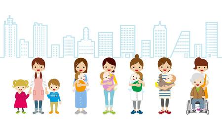 女性の育児と Aregiver itysape の背景  イラスト・ベクター素材