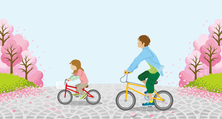 unrecognizable person: Cycling Anonymity two children-Cherry trees Illustration