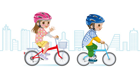 elementary age: Two children riding Bicycle, Helmet, and Cityscape background