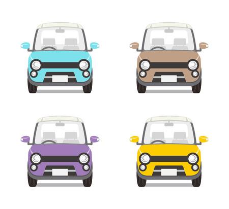 four objects: Car set Four colors-Front view