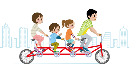 tandem bicycle: Family riding Bicycle, Cityscape background Illustration