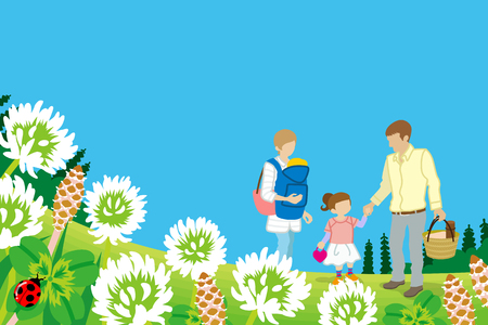 four leafed: Family enjoying Picnic in Spring nature