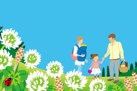loving: Family enjoying Picnic in Spring nature