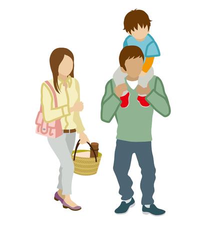 piggyback: Family stroll, Piggyback white background