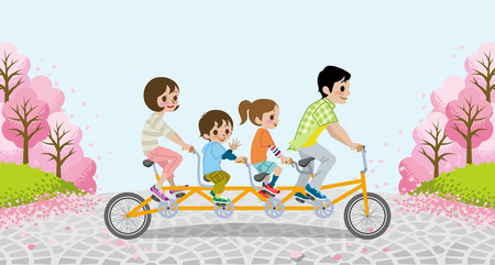 family illustration: Cycling Family Tandem Bicycle - Cherry trees