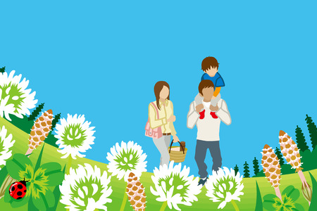 four leafed: Family enjoying Picnic in Spring nature-Piggyback