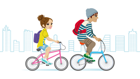 full length woman: Young couple riding Bicycle, Cityscape Illustration