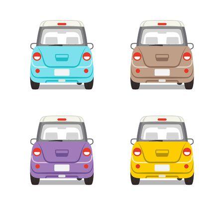 backview: Car set Four colors-Back view