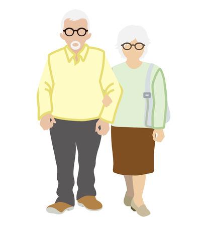 stroll: Senior couple stroll, white background