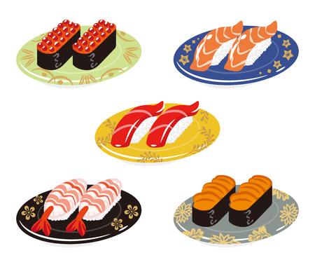 prepared fish: Five Sushi plates set