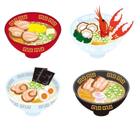 Four Japanese Ramen Noodles