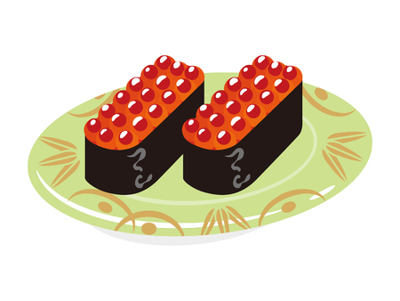 sushi  plate: Salmon roe Sushi plate Illustration