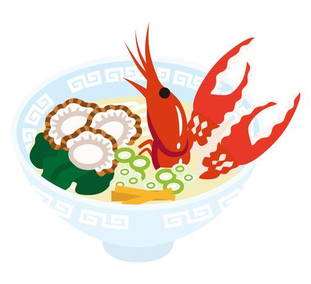 ramen: Seafood Ramen Illustration