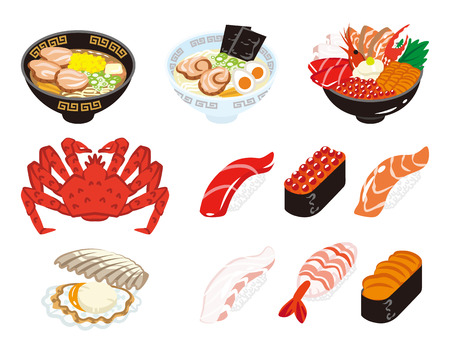 hokkaido: Japanese Cuisine and Seafood set Illustration