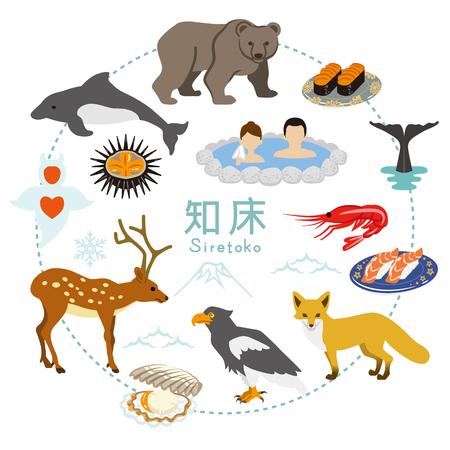 white tail deer: Shiretoko Tourism - Flat icons Illustration
