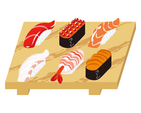 sushi  plate: Sushi on the wooden plate