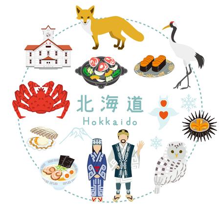 hokkaido: In Hokkaido Tourism - Flat icons