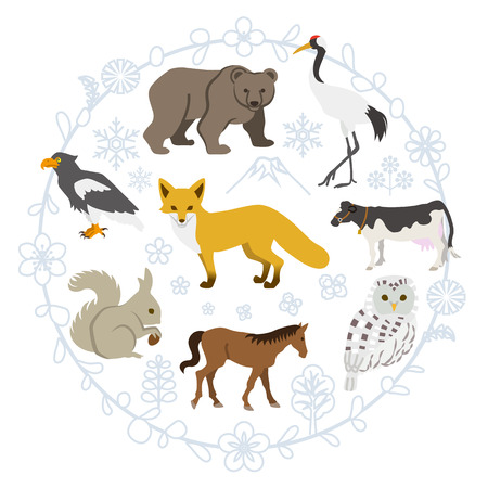 hokkaido: Northern Animals set Illustration