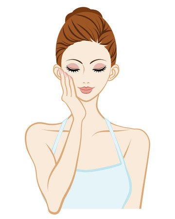 woman washing face: Skin care woman-Holding Cheek One hand Illustration