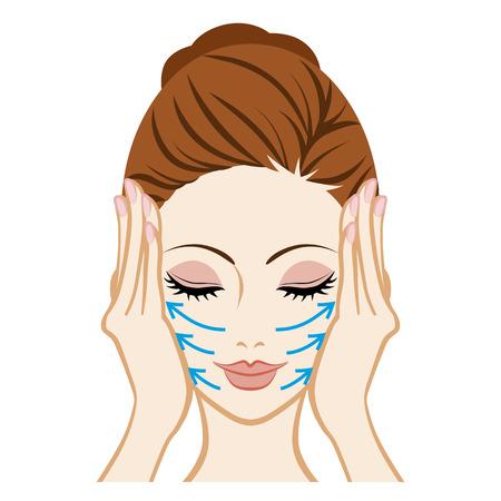 woman washing face: Lift up-Facial Skin Care Illustration