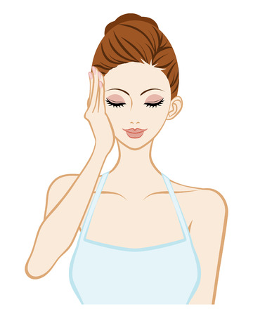 facial massage: Lift up-Skin Care Woman - One hand and Closed eyes