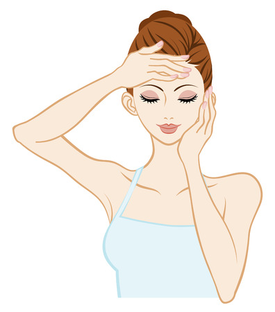 woman washing face: Skin care Woman-Closed Eyes