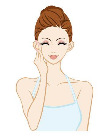 cheek: Smiling woman Touching Cheek - Skin care