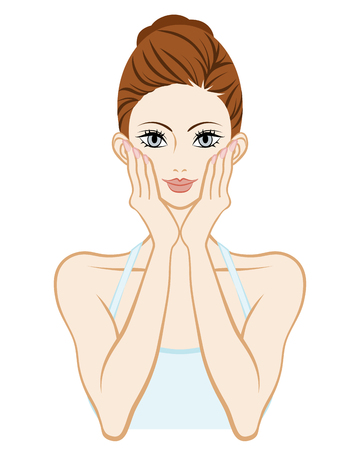 Skin care woman-Holding Cheek both hands Illustration