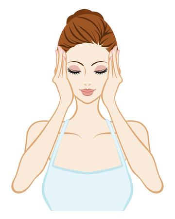 Hebe-Hautpflege Frau - die Augen geschlossen und beide Hände