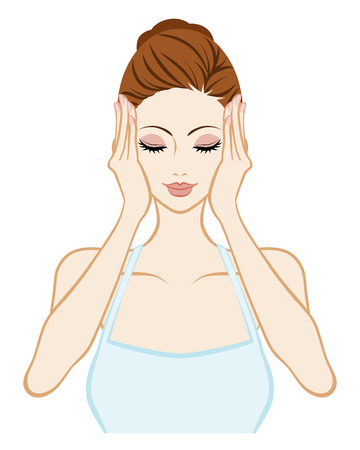 washing hands: Lift up-Skin Care Woman - Closed eyes and both hands Illustration