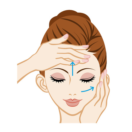 woman washing face: Facial Massage - Facial Skin Care Illustration