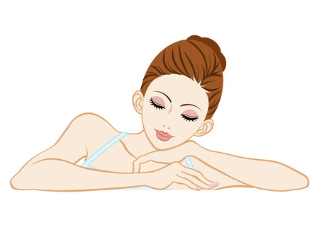 out of body: Leaning woman closed eyes-Skin care image Illustration