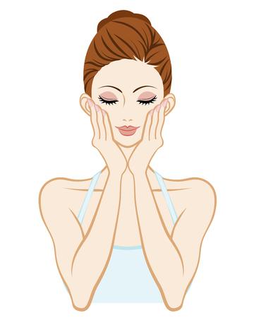 Kobieta pielęgnacji skóry-Holding Cheek obie ręce zamkniętymi oczami Ilustracje wektorowe