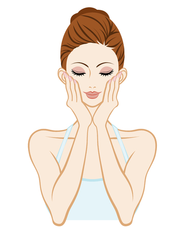 woman washing face: Skin care woman-Holding Cheek both hands Closed eyes Illustration