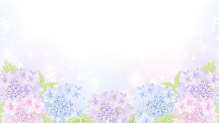 アジサイ花壇の背景