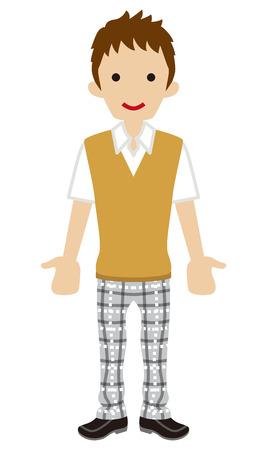 short sleeved: Male High school student-beige vest