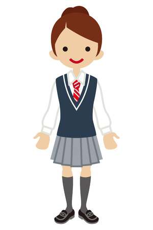 school uniform: Japanese Female High school student-Deep blue color vest Illustration