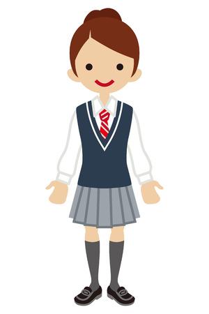 japanese ethnicity: Japanese Female High school student-Deep blue color vest Illustration
