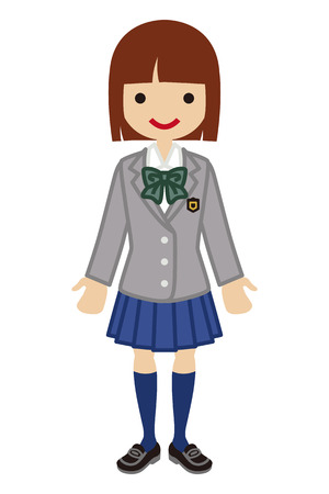bobbed: Japanese Female High school student-blazer
