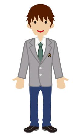 spring coat: Male High school student-blazer Illustration