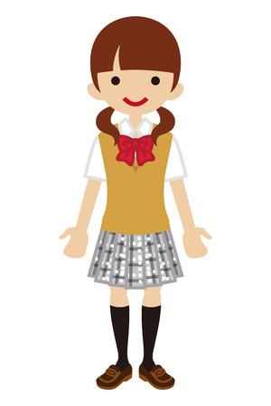 chequered ribbon: Japanese Female High school student-Beige vest