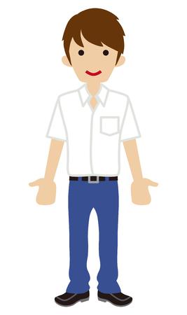 standing man: Male High school student-shm?rt