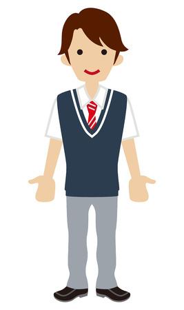 cut short: Male High school student deep blue color vest