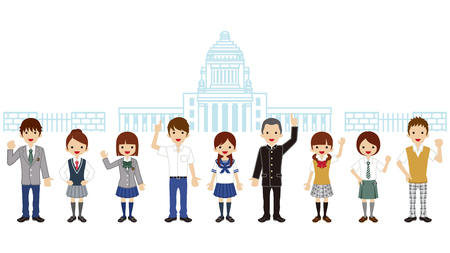 Students in front of Japanese National Diet Building  イラスト・ベクター素材