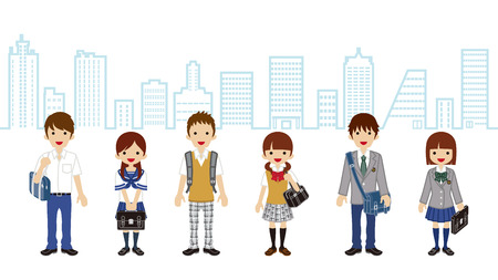 japanese ethnicity: Students Standing-city background
